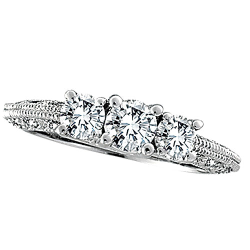 18K White Gold Three Stone 1.13ct Diamond Wedding Anniversary Ring SI2 H-I. Price: $4615.68