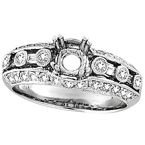 18K White Gold .75ct Diamond Semi Mount Antique Style Setting SI1-SI2 G-H. Price: $2396.16