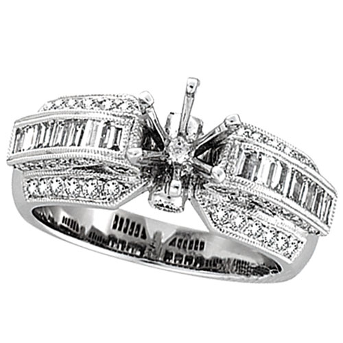 18K White Gold 1.05ct Diamond Semi Mount Antique Style Ring Setting SI1-SI2 G-H. Price: $3653.76