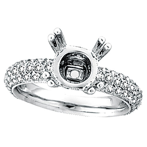 18K White Gold 1.55ct Diamond Eternity Setting Semi Mount Ring Mounting SI1-SI2 G-H. Price: $3168.00