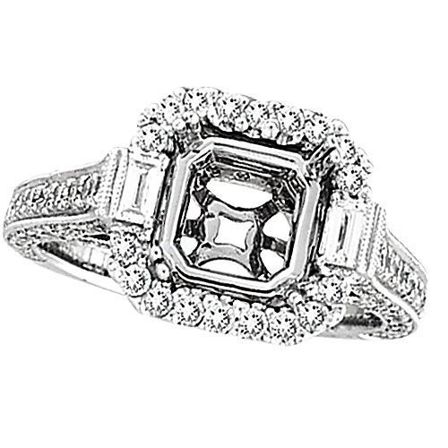 18K White Gold 1.4ct Diamond Semi Mount Antique Style SI1-SI2 G-H. Price: $3272.64
