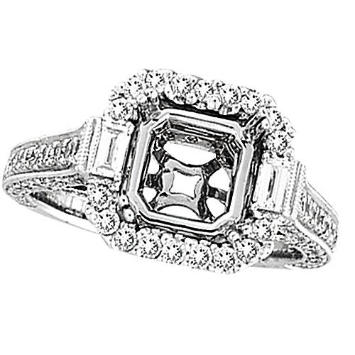 18K White Gold 1.4ct Diamond Semi Mount Antique Style SI1-SI2 G-H. Price: $3272.64