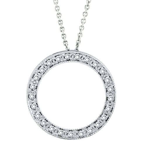 14K White Gold .25ct Diamond Circle Pendant Necklace SI1-SI2 G-H. Price: $546.24