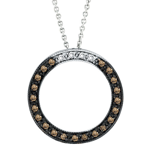 14K White Gold .25ct Champagne Diamond Circle Necklace Pendant SI1-SI2 G-H. Price: $546.24