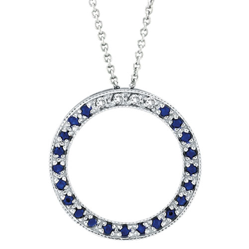 14K White Gold .04ct Diamond & Sapphire Circle Necklace. Price: $431.60