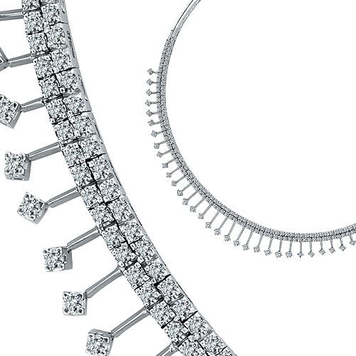 14K White Gold Luxury 5.51ct Diamond Double Row Dangle Necklace SI1-SI2 G-H. Price: $10080.00