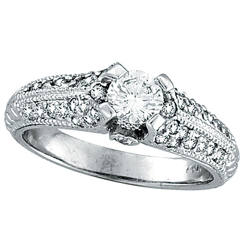 18K White Gold .90ct Diamond Solitaire Antique Style Engagement Ring SI2 H-I. Price: $3945.60