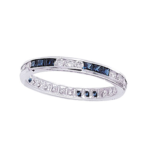 14K White Gold .53ct Sapphire & .46ct Diamond Eternity Band. Price: $1368.00