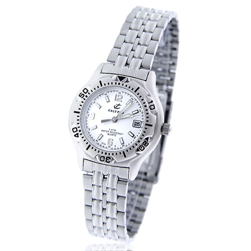 Lady's Calypso Silver Dial Stainless Steel Polished Water Resistant Watch. Price: $50.00
