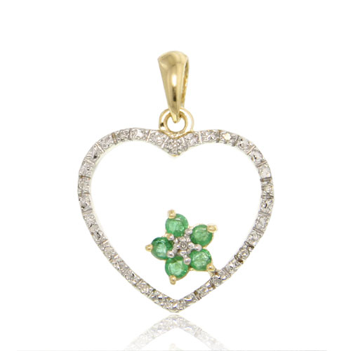 14K Thin Heart Outline Emerald Floral Design Diamond Pendant. Price: $197.44