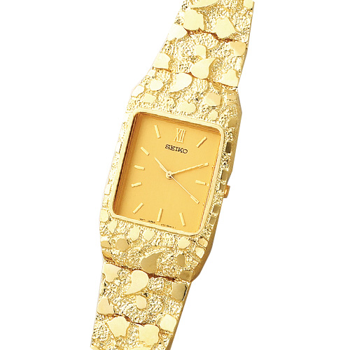 14K Gold Men's Nugget Style Square Champagne Dial Water Resistant Watch. Price: $4573.44