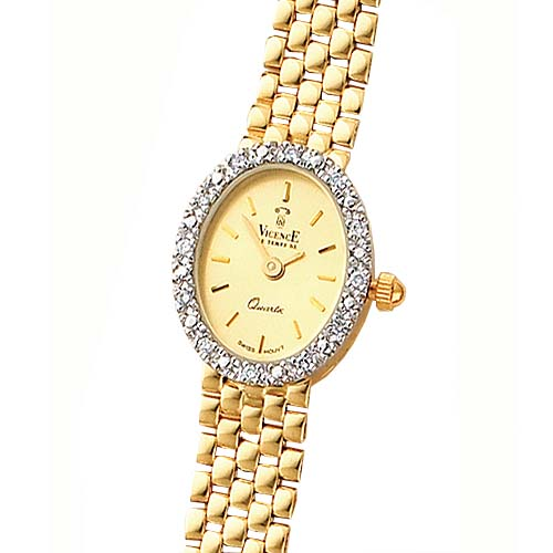 14K Gold Women's Champagne Oval Dial Diamond Accented Water Resistant Watch. Price: $1727.58