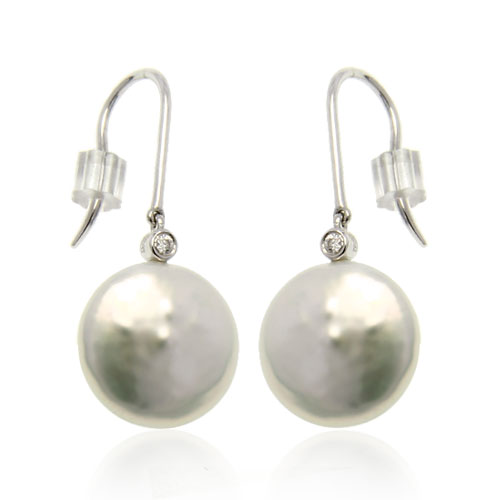 Jewelry Adviser earrings 14K White Gold 12-13mm White Coin Pearl Earrings at Sears.com