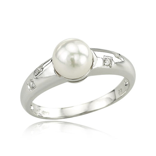 14K White Gold Diamond & Cultured Pearl Ring. Price: $386.00