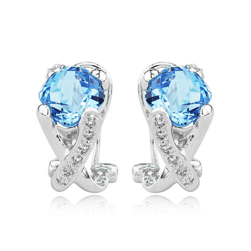 Cushion Cut Blue Topaz With White Gold Diamond Earrings. Price: $858.00