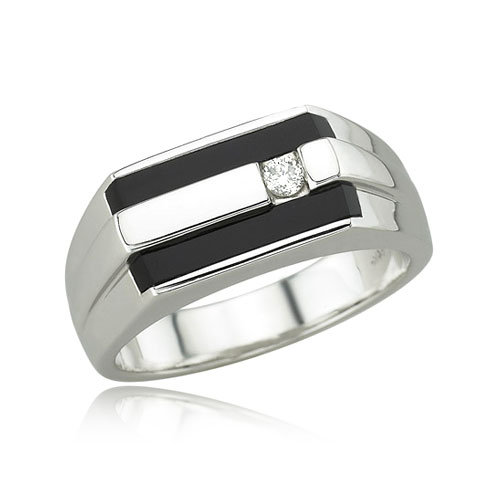 Men's Onyx and Diamond Ring. Price: $1530.00
