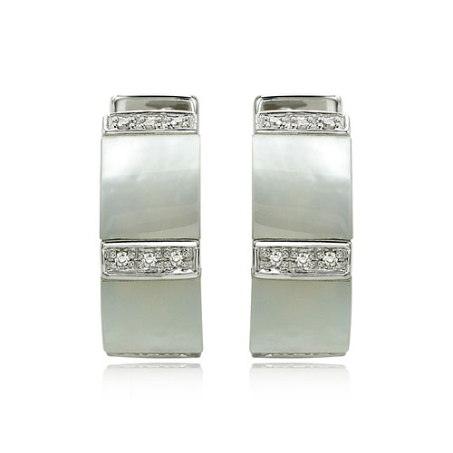 14K White Gold Mother of Pearl & Diamond Sections Earrings. Price: $480.00