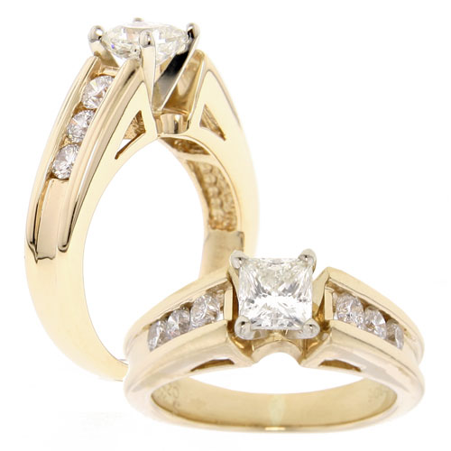 14K Yellow Gold Princess Cut Diamond Engagement Ring. Price: $1999.00