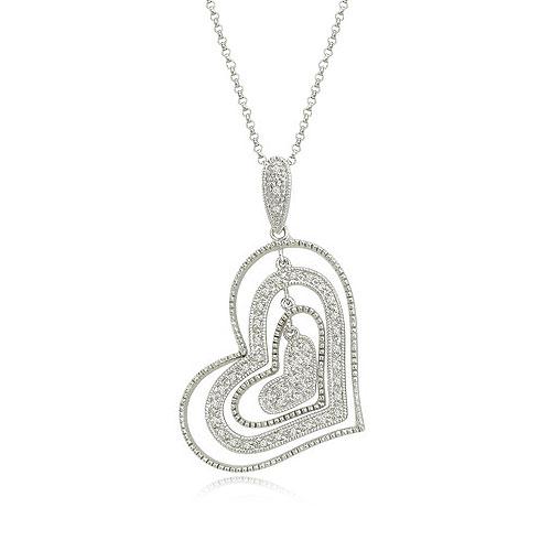 14K White Gold & Diamond Graduated Heart Dangle Necklace. Price: $962.00