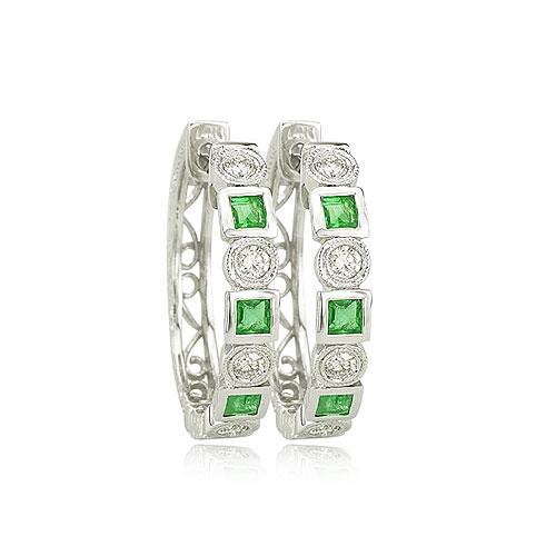 Emerald And Diamond Earrings. Price: $1044.00