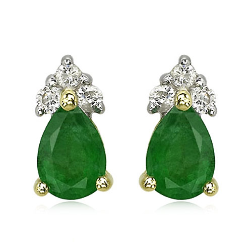 Pear Emerald And Diamond Earrings. Price: $338.00
