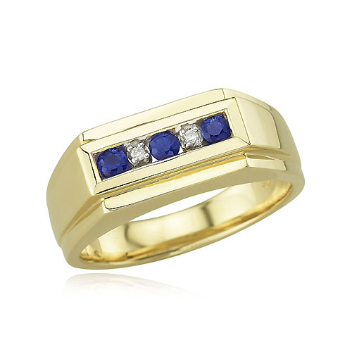 Men's Blue Sapphire And Diamond Ring. Price: $1264.00