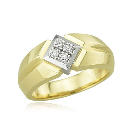 14K Two-Tone Men's Slanted Square Diamond Ring. Price: $1558.00