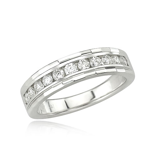 14K White Gold 1/2ct Channel Set Round Diamond Detailed Band. Price: $1330.00