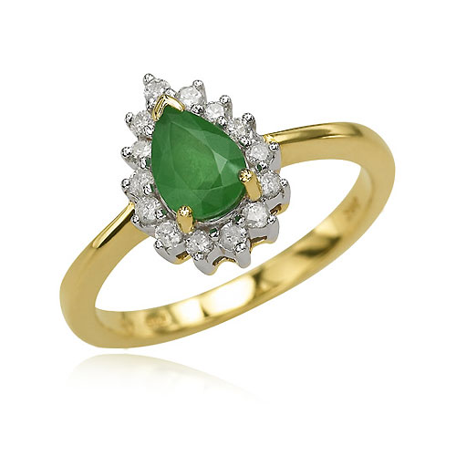 Pear Emerald And Diamond Ring. Price: $820.00