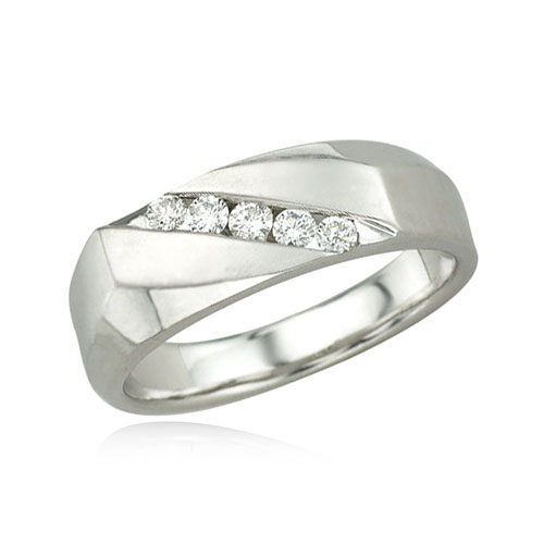 14K White Gold Men's Diagonal Channel Set Diamond Band. Price: $1424.00