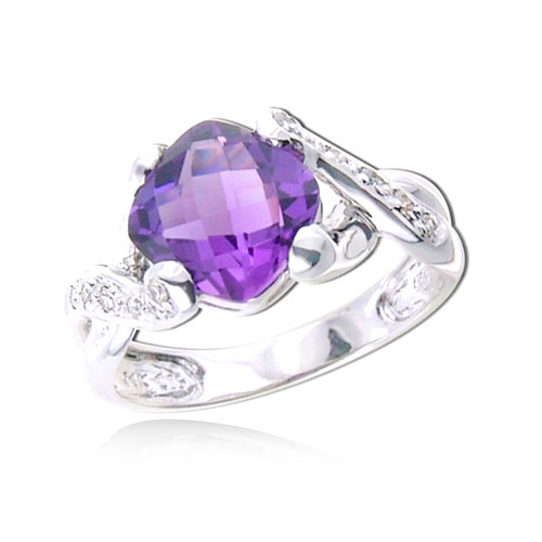 Cushion Cut Amethyst With White Gold Diamond Ring. Price: $782.00