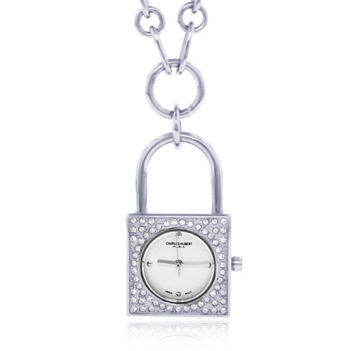 Charles Hubert Swarovski Crystal White Dial Lock Pendant Watch. Price: $116.04