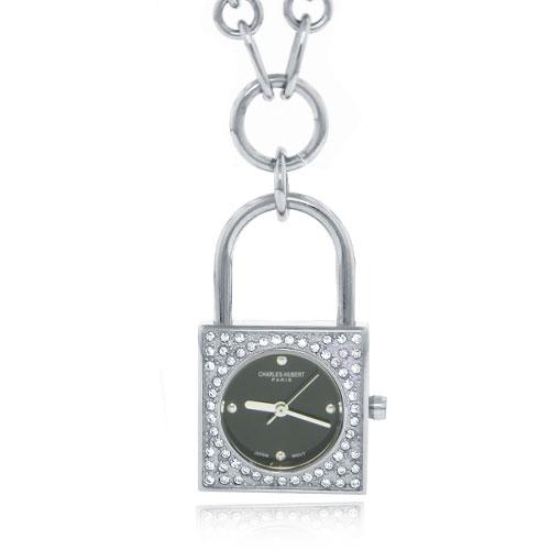 Charles Hubert Swarovski Crystal Black Dial Lock Pendant Watch. Price: $116.04