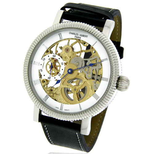 Charles Hubert Visible Mechanics Leather Band Watch. Price: $282.52