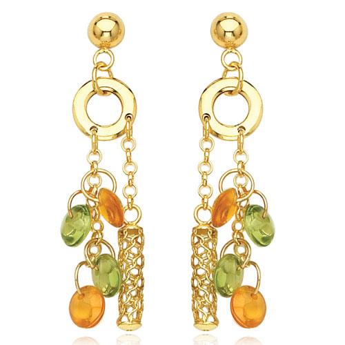 14K Yellow Gold Peridot & Yellow Topaz Dangle Earrings. Price: $446.74