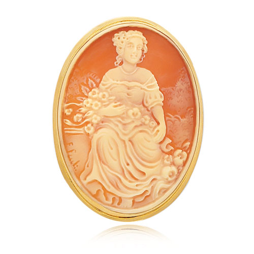 14K Yellow Gold 44mm Shell Cameo Pendant/Pin. Price: $699.53