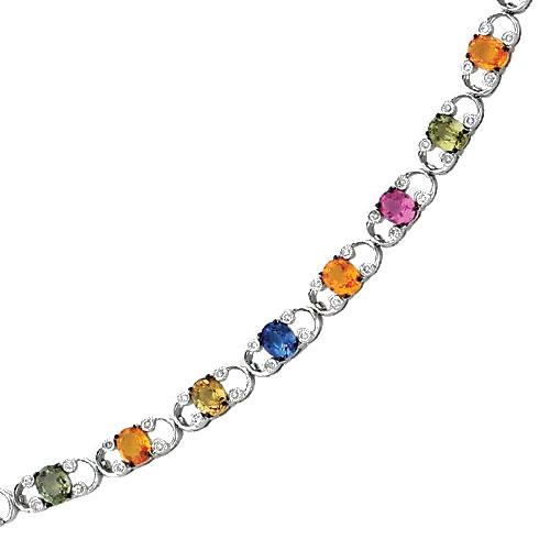 14K White Gold Rainbow Sapphire & Diamond Bracelet. Price: $1877.41