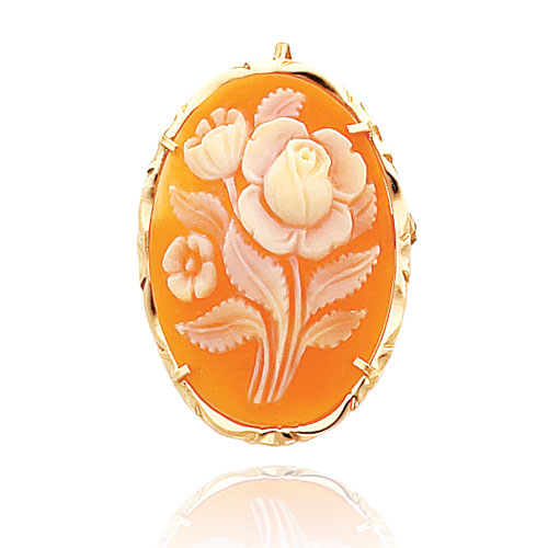 14K Yellow Gold Traditional Rose Design Shell Cameo Pin/Pendant. Price: $285.24