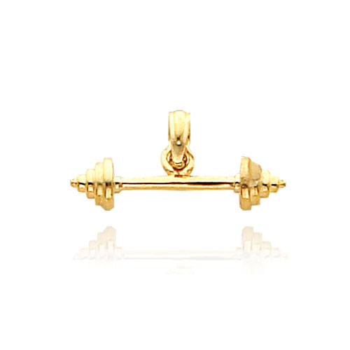 14K Yellow Gold 3D Dumbbell Pendant. Price: $106.42