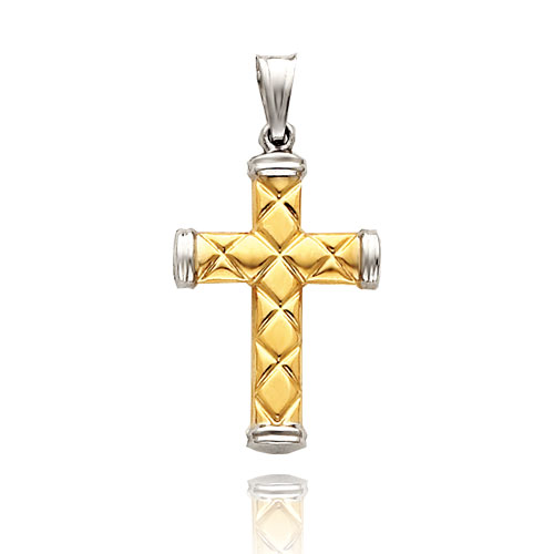 14K Two-Tone Patterned Cross Pendant. Price: $185.10