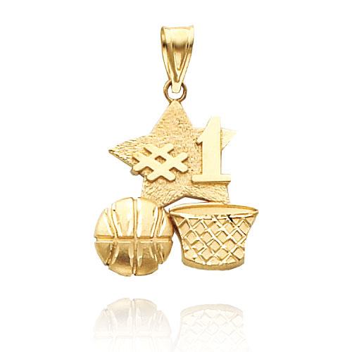 14K Yellow Gold Polished #1 Basketball Charm. Price: $148.02