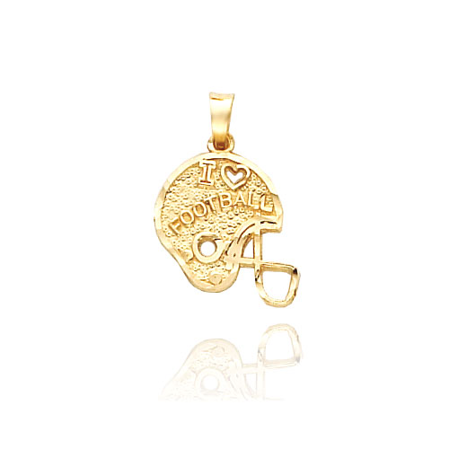 "14K Yellow Gold ""I Love Football"" Helmet Charm. Price: $59.38"