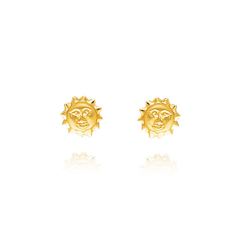 14K Yellow Gold Polished & Satin Sun Post Earrings. Price: $110.38