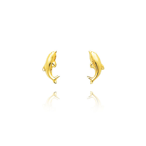 14K Yellow Gold Polished Dolphin Post Earrings. Price: $71.44