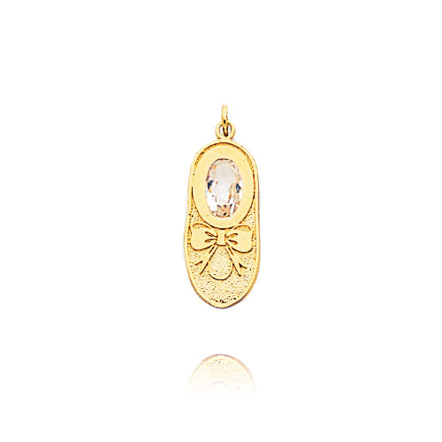 14K Yellow Gold Solid April/White Topaz Baby Shoe Charm. Price: $52.14