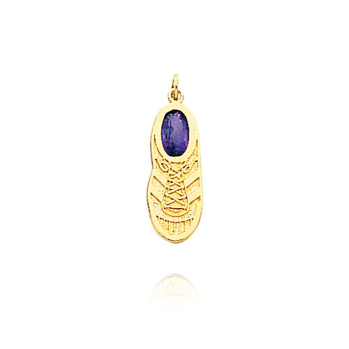 14K Yellow Gold Solid February/Amethyst Baby Sneaker Charm. Price: $52.58