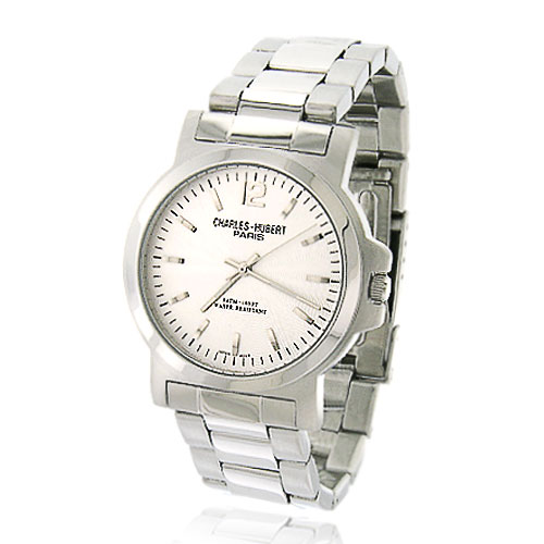 Men's Charles Hubert Stainless Steel Round Silver-White Dial Classic Watch. Price: $95.30
