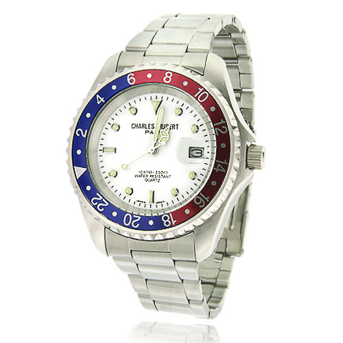 Men's Charles Hubert Stainless Steel Blue & Red Bezel Classic Watch. Price: $128.93