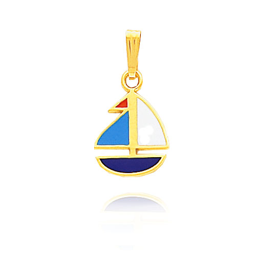 14K Yellow Gold Enameled Sailboat Pendant. Price: $123.12