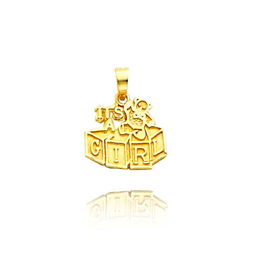"14K Yellow Gold ""It's a Girl"" Charm. Price: $57.00"